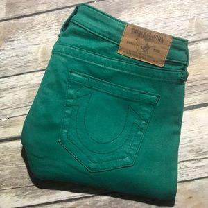 True Religion Jeans Super Skinny Green Coated 31